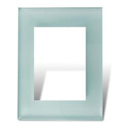 Tapa y distanciador cambre bauhaus de vidrio color celeste