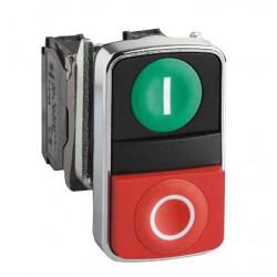 Pulsador schneider xb4bl73415 doble verde/rojo saliente...