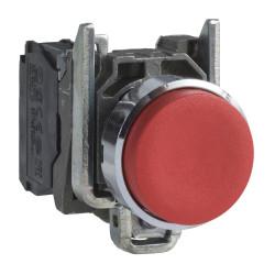 Pulsador schneider saliente metálico 1nc rojo