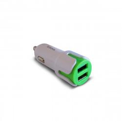 Cargador de auto soul usb dual tipo c verde 2.4amp + 2,4 amp
