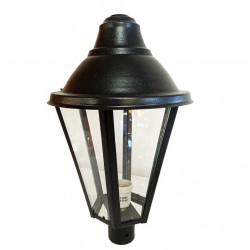 Farol pol-luz fa32 para poste chapa hexagonal negro