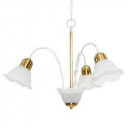 Araña cival carla con tulipa para 3 luces e27 blanco dorado
