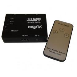 Switch hdmi nisuta ns-swh3 3 puertos con control remoto
