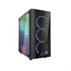 Gabinete gamer atx jalatec jt-x91 kit de 500w con luz led