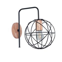 Aplique carilux a15 1 luz mini atomo madera paraíso negro