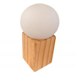Velador carilux n15 cubo con globito opal madera natural