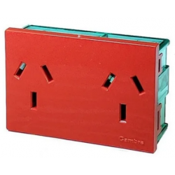 Módulo toma corriente cambre doble r7694 10a rojo