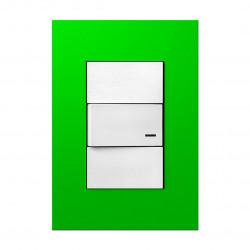 Tapa jeluz platinum para bastidor de 3 módulos verde