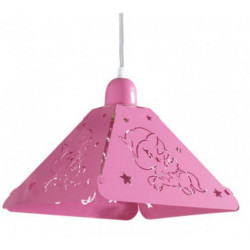 Colgante ferrolux unicornio 1 luz e27 rosado de chapa...