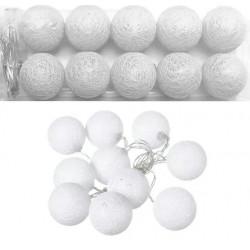 Luces navideñas led x10 bolas blancas hiladas calidas