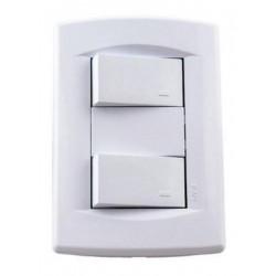 Llave de luz sica dumeco armada con 2 puntos blanco puro