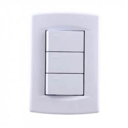 Llave de luz sica dumeco armada con 3 puntos de 10a blanco