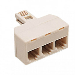 Adaptador 3 vias 4 contactos para rj11