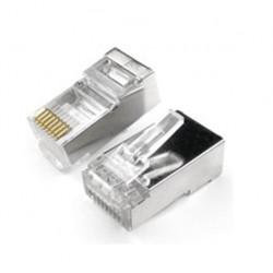 Conector nisuta rj45 blindado categoria e5 50 micrones
