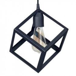 Colgante ferrolux cubo 1 luz e27 negro texturado