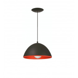 Colgante ferrolux madrid 1 luz pvc 26 cm negro/naranja