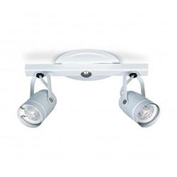Spot 2 luces dabor lima liston para lampara gu10 blanco